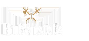 Bubenstolz Logo in schwarzer Schrift und Kreuz mit den gem gekreuztem Schwert und Picke